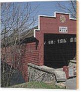 The Red Bridge Or Wertz's Cover Bridge Wood Print