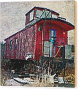 The Red Caboose Wood Print by Dianne  Lacourciere
