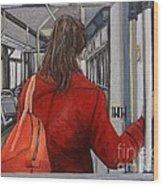 The Red Coat Wood Print