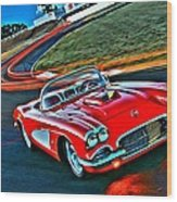 The Red Corvette Wood Print