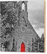 The Red Door Monochrome Wood Print