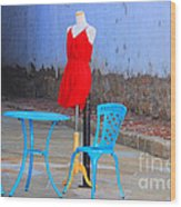The Red Dress Lunch Special Wood Print