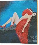 The Red Feather Boa Wood Print