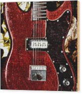 The Red Guitar Blues Wood Print by Bill Cannon