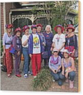 The Red Hat Ladies At The Catfish Plantation Wood Print