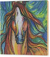 The Red Horse Wood Print