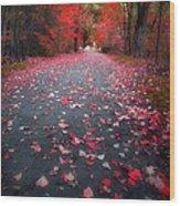 The Red Leaf Wood Print