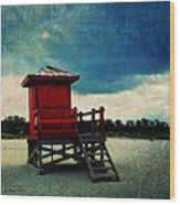 The Red Lifeguard Shack Wood Print