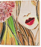 The Red Lips Wood Print by Hilda Lechuga