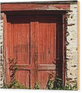 The Red Mill Door Wood Print