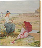 The Red Parasol Wood Print by Alfred Glendening Jr