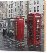 The Red Phone Booth Wood Print