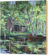 The Red Pirogue Wood Print