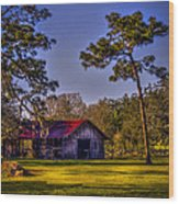 The Red Roof Barn Wood Print by Marvin Spates