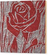 The Red Rose Wood Print by Marita McVeigh