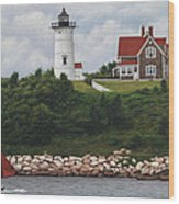 The Red Sail  Nobska Lighthouse Cape Cod Wood Print