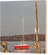 The Red Sailboat Wood Print