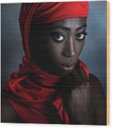The Red Scarf Wood Print
