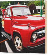 The Red Tow Truck Wood Print