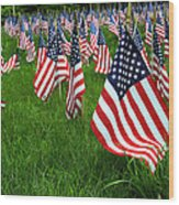 The Red White And Blue  American Flags Wood Print