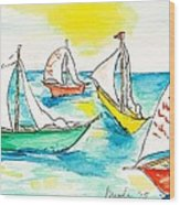 The Regatta Wood Print by Brenda Ruark