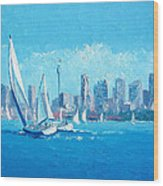 The Regatta Sydney Habour By Jan Matson Wood Print