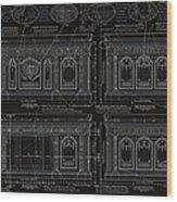 The Resolute Desk Blueprints- Black/white Line Wood Print by Kenneth Perez