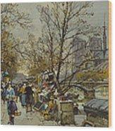 The Rive Gauche Paris With Notre Dame Beyond Wood Print