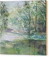 The River Going Out From The Forest Wood Print
