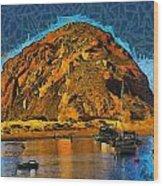 The Rock At Morro Bay Abstract Wood Print