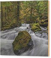 The Rock At Panther Creek Wood Print