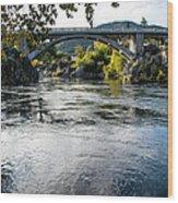 The Rogue River At Gold Hill Bridge Wood Print