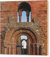 The Romanesque Doorway In The Monastery Wood Print