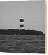 The Rue Point South Lighthouse Rathlin Island Against Grey Sky With Sea County Antrim Northern Irela Wood Print