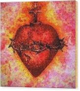 The Sacred Heart Of Jesus Christ Wood Print