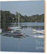 The Sailboats At Great Pond Wood Print
