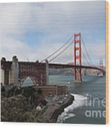 The San Francisco Golden Gate Bridge - 5d18909 Wood Print by Wingsdomain Art and Photography