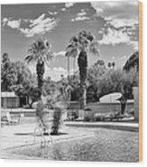 The Sandpiper Pool Bw Palm Desert Wood Print