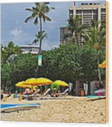 The Scene At Waikiki Beach Wood Print