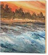 The Sea Of Blue Wood Print