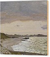 The Seashore At Sainte Adresse Wood Print