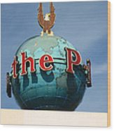 The Seattle Pi Globe Sign Wood Print by Kym Backland