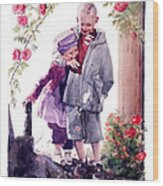 Watercolor Of A Boy And Girl In Their Secret Garden Wood Print