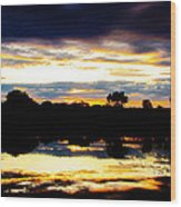 The Setting Sun On A Wisconsin Marsh Wood Print