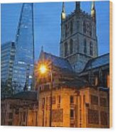 The Shard And Southwark Cathedral Wood Print