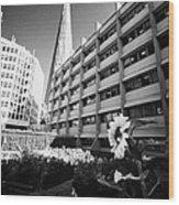 the shard building towering over melior street community garden London England UK Wood Print