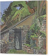 The Shed, Clovelly Oil On Board Wood Print
