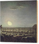 The Sheepfold   Moonlight Wood Print by Jean Francois Millet