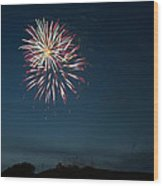 West Virginia Day Fireworks Show Begins Wood Print by Howard Tenke