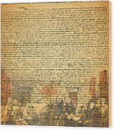The Signing Of The United States Declaration Of Independence Wood Print